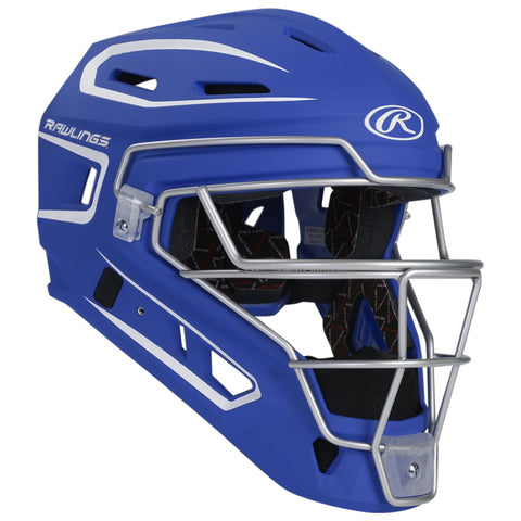 RAWLINGS YOUTH VELO 2.0 ROYAL/WHITE CATCHER HELMET