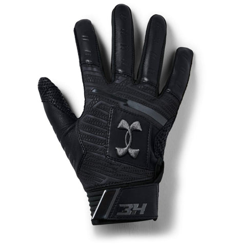 UNDER ARMOUR 2018 HARPER PRO BLACK/BLACK BATTING GLOVES