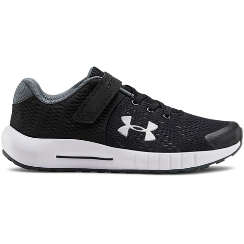 UNDER ARMOUR BOYS PRE-SCHOOL PURSUIT BP AC KIDS SHOE BLACK/WHITE/SILVER