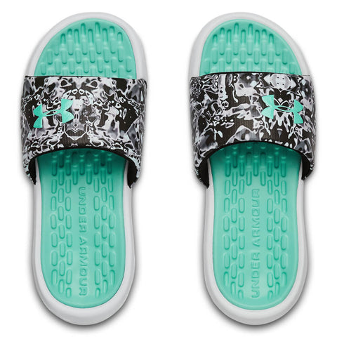 UNDER ARMOUR GIRLS PLAYMAKER CHROMA SLIDE TURQUOISE/WHITE/TURQUOISE