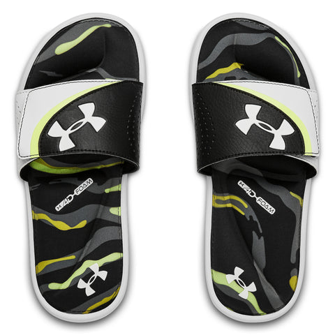 UNDER ARMOUR BOYS IGNITE VI MORPH DPM SLIDE WHITE/GREEN/BLACK