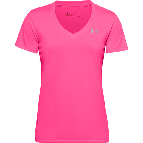 UNDER ARMOUR WOMEN'S TECH SHORT SLEEVE VNECK SOLID CERISE