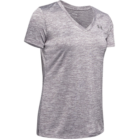 UNDER ARMOUR WOMEN'S TECH SHORT SLEEVE TOP V TWIST GREY