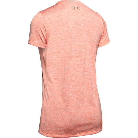 UNDER ARMOUR WOMEN'S TECH TWIST SHORT SLEEVE TOP PEACH PLASMA