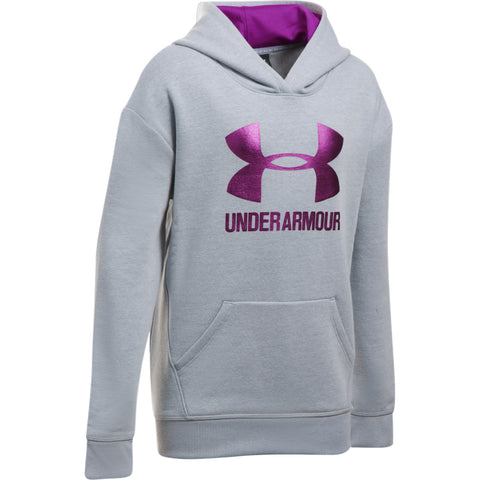 UNDER ARMOUR GIRL'S THREADBORNE FLEECE HOODY GREY