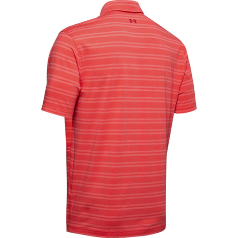 UNDER ARMOUR MEN'S CHARGED COTTON SCRAMBLE STRIPE SHORT SLEEVE POLO RED