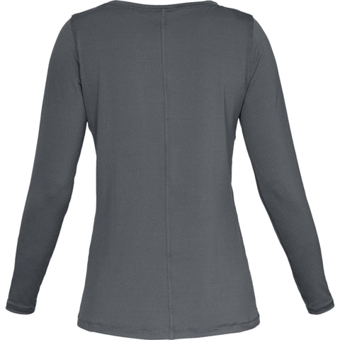 UNDER ARMOUR WOMEN'S HEAT GEAR ARMOUR LONG SLEEVE TOP PITCH GREY