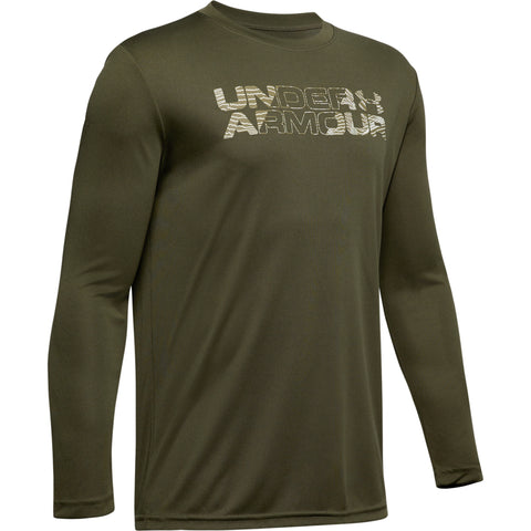 UNDER ARMOUR BOY'S BIG LOGO PRINT FILL LONG SLEEVE GUARDIAN GREEN/OUTPOST GREEN