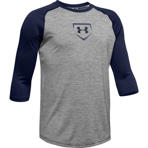 UNDER ARMOUR YOUTH 3/4 SLEEVE NAVY BASEBALL T-SHIRT