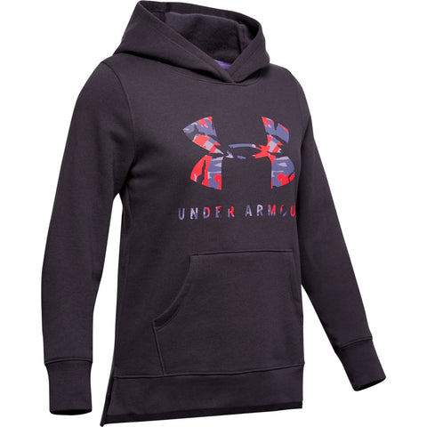 UNDER ARMOUR GIRL'S RIVAL PRINT FILL LOGO HOODY NOCTURNE PURPLE