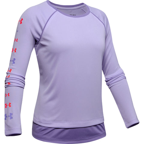UNDER ARMOUR GIRL'S TECH LONG SLEEVE PURPLE CREST