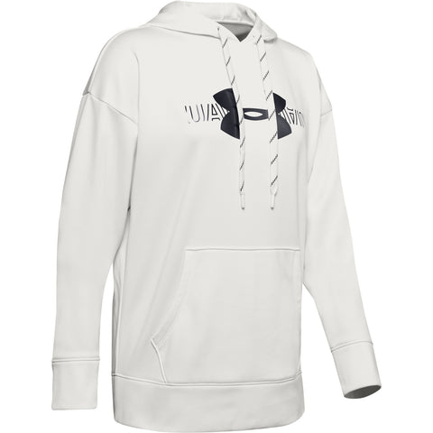UNDER ARMOUR WOMEN'S SYNTHETIC FLEECE GRAPHIC LOGO PULLOVER HOODY WHITE