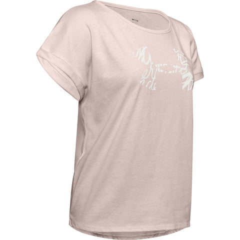 UNDER ARMOUR WOMEN'S GRAPHIC SCRIPT LOGO FASHION SHORT SLEEVE CREW APEX PINK
