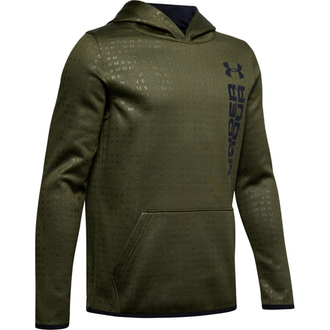 UNDER ARMOUR BOY'S ARMOUR FLEECE EMBOSSED HOODY GUARDIAN GREEN / BLUE
