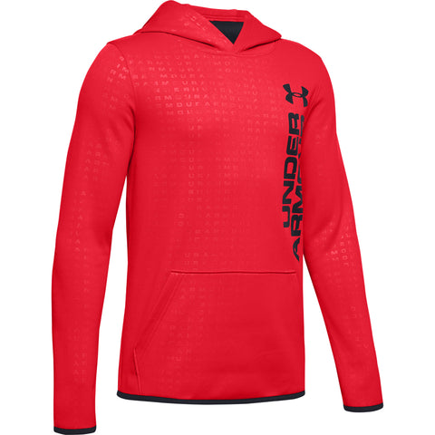 UNDER ARMOUR BOY'S ARMOUR FLEECE EMBOSSED HOODY RED/ BLACK