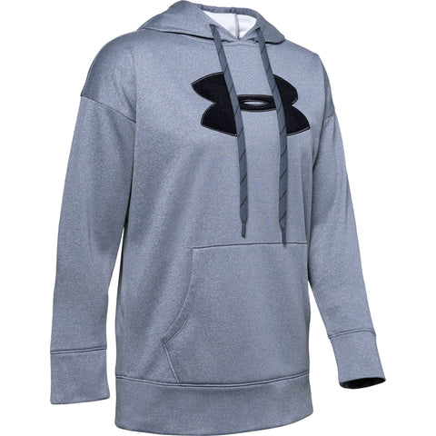 UNDER ARMOUR WOMEN'S  SYNTHETIC FLEECE CHENILLE LOGO PULLOVER HOODY DOWNPOUR