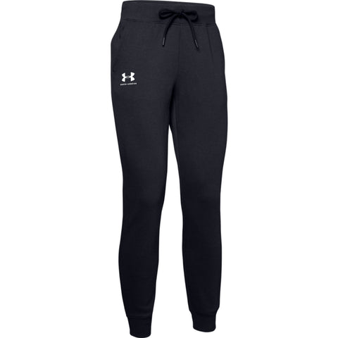 UNDER ARMOUR WOMEN'S RIVAL FLEECE SPORTSTYLE GRAPHIC PANT BLACK