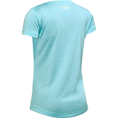 UNDER ARMOUR GIRL'S GRAPHIC TWIST BIG LOGO SHORT SLEEVE TEE BLUE HAZE