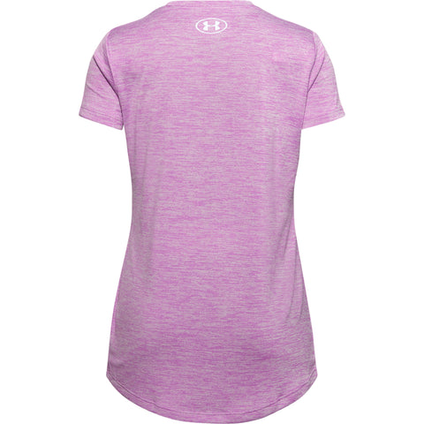 UNDER ARMOUR GIRL'S GRAPHIC TWIST BIG LOGO SHORT SLEEVE TEE POLAR PURPLE