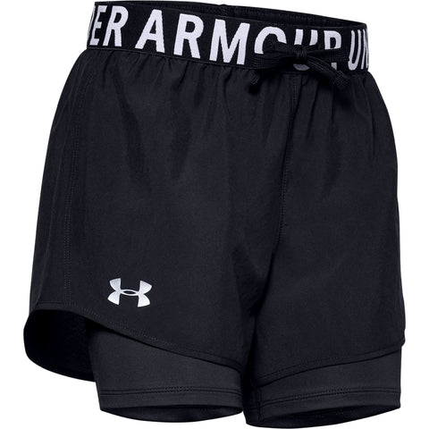 UNDER ARMOUR GIRL'S HEAT GEAR ARMOUR 2IN1 SHORT BLACK/ SILVER