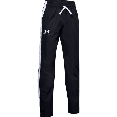 UNDER ARMOUR BOY'S WOVEN TRACK PANT BLACK/ WHITE