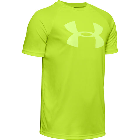 UNDER ARMOUR BOY'S TECH BIG LOGO SHORT SLEEVE CITRINE