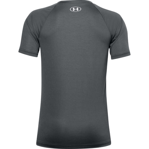 UNDER ARMOUR BOY'S TECH HYBRID PRINT FILL SHORT SLEEVE PITCH GREY