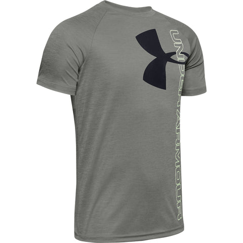 UNDER ARMOUR BOYS TECH SPLIT LOGO SHORT SLEEVE TOP HYBRID GREEN