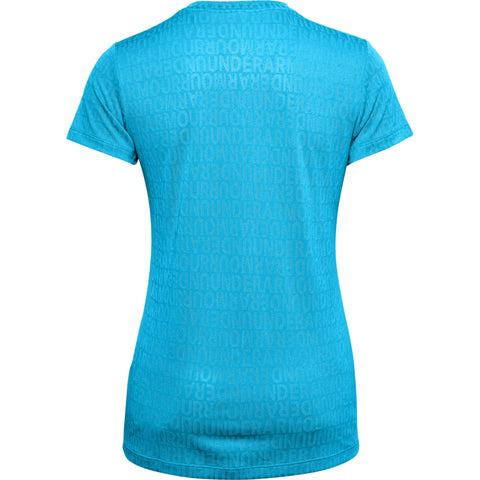 UNDER ARMOUR WOMEN'S TECH WM JAQUARD SHORT SLEEVE VNECK EQUATOR BLUE