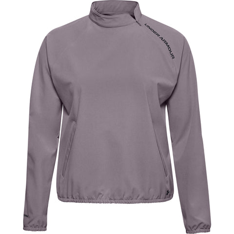 UNDER ARMOUR WOMEN'S WOVEN Q-ZIP CREW TOP PURPLE