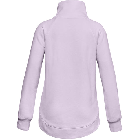 UNDER ARMOUR GIRLS RIVAL FLEECE WRAP NECK PURPLE