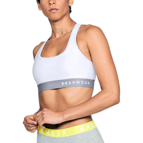 UNDER ARMOUR WOMEN'S ARMOUR MID CROSSBACK BRA WHITE