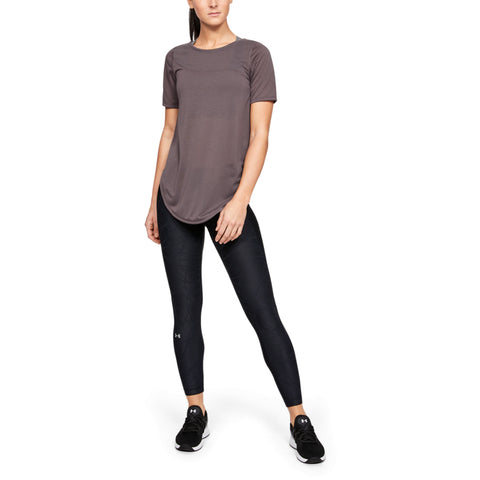 UNDER ARMOUR WOMEN'S WHISPERLIGHT ASYMM SHORT SLEEVE GREY