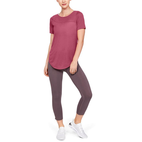 UNDER ARMOUR WOMEN'S WHISPERLIGHT ASYMM SHORT SLEEVE PINK