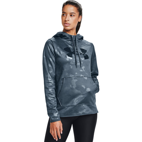 UNDER ARMOUR WOMEN'S ARMOUR FLEECE BIG LOGO CAMO SHINE HOODY MECHANIC BLUE