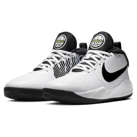 NIKE BOYS GRADE SCHOOL TEAM HUSTLE 9 D KIDS SHOE WHITE/BLACK/VOLT