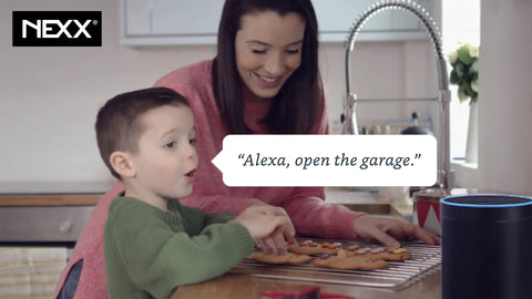 Nexx Works with Alexa, open the garage