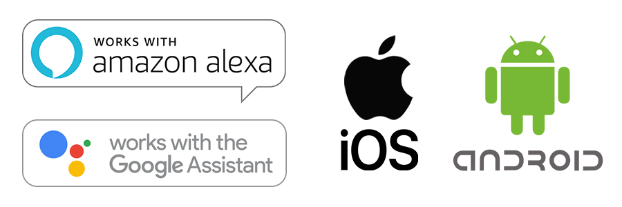 works with amazon alexa, google assistant, ios, android