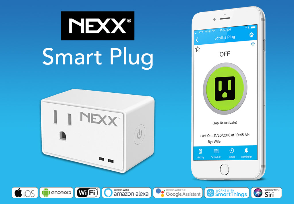 Nexx Smart Plug NXPG-100 works with iOS, Android, Siri, Amazon Alexa, Google Assistant, Smartthings