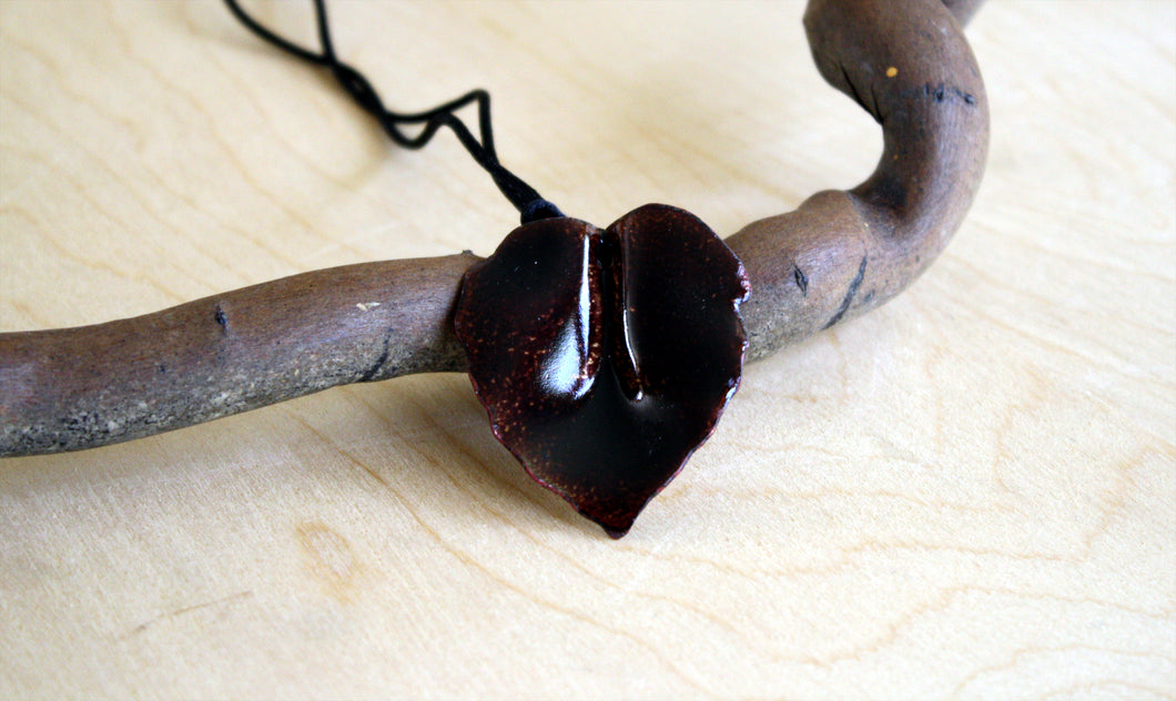 Dark Brown Ash Leaf Pendant