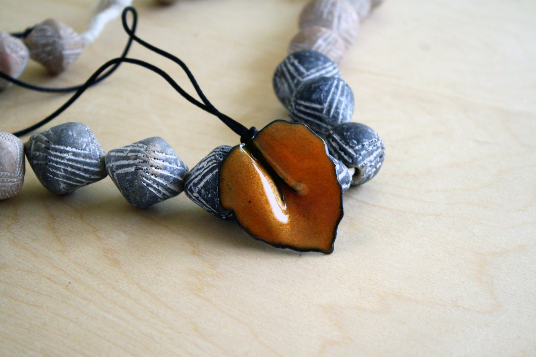 Warm Orange Leaf Pendant