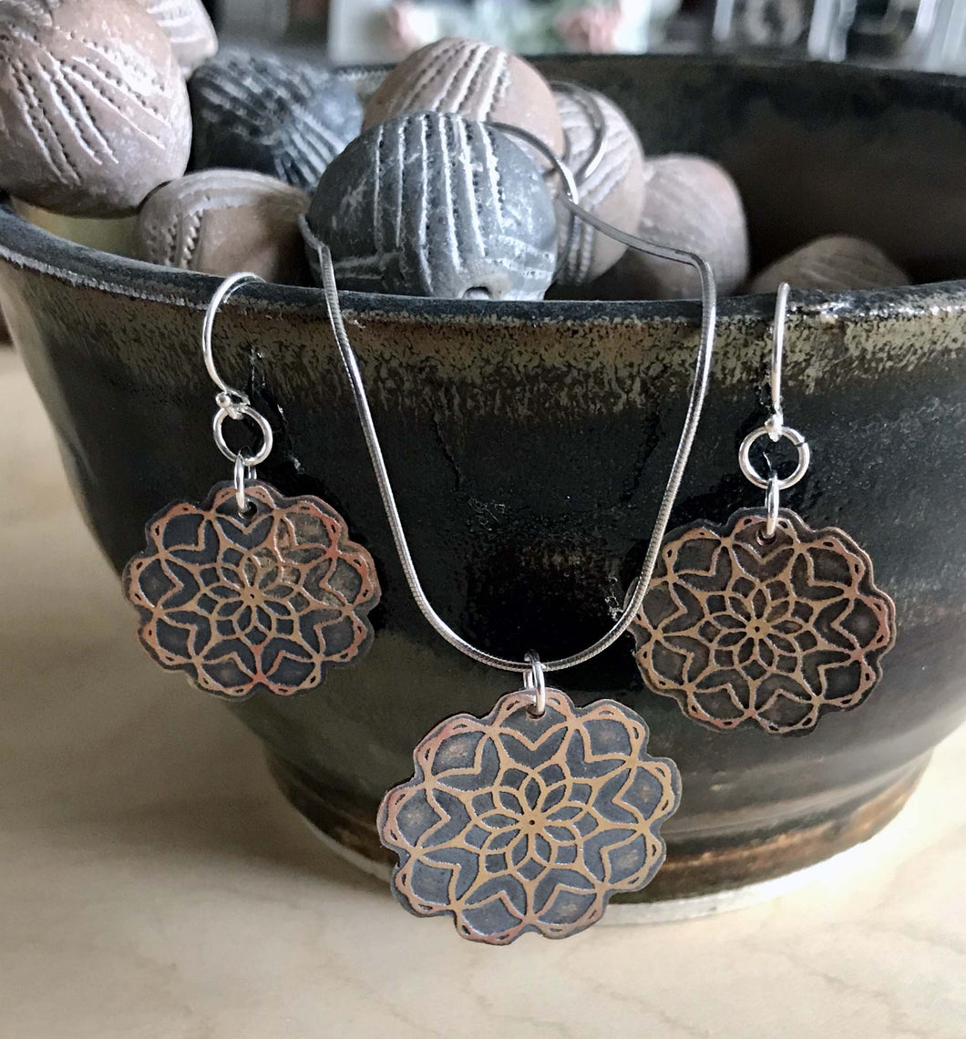 Floral Copper Mandala Pendant and Earring Set