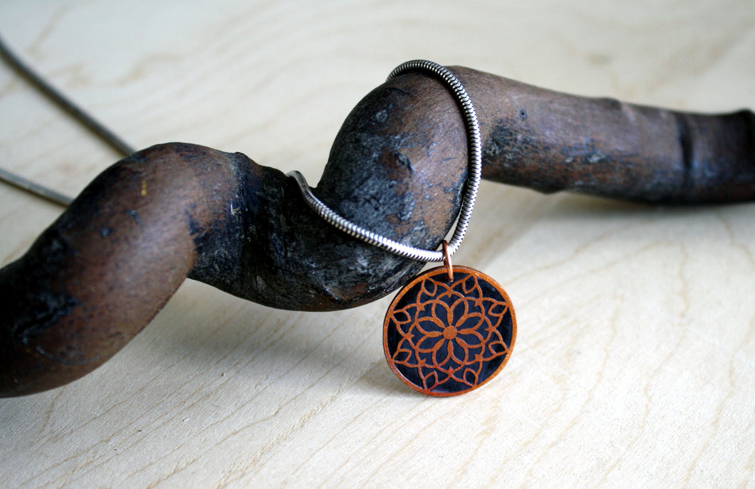 Small Snowflake Copper Mandala Pendant