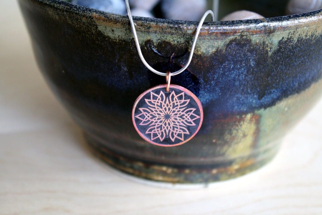 Edgy Small Copper Mandala Pendant