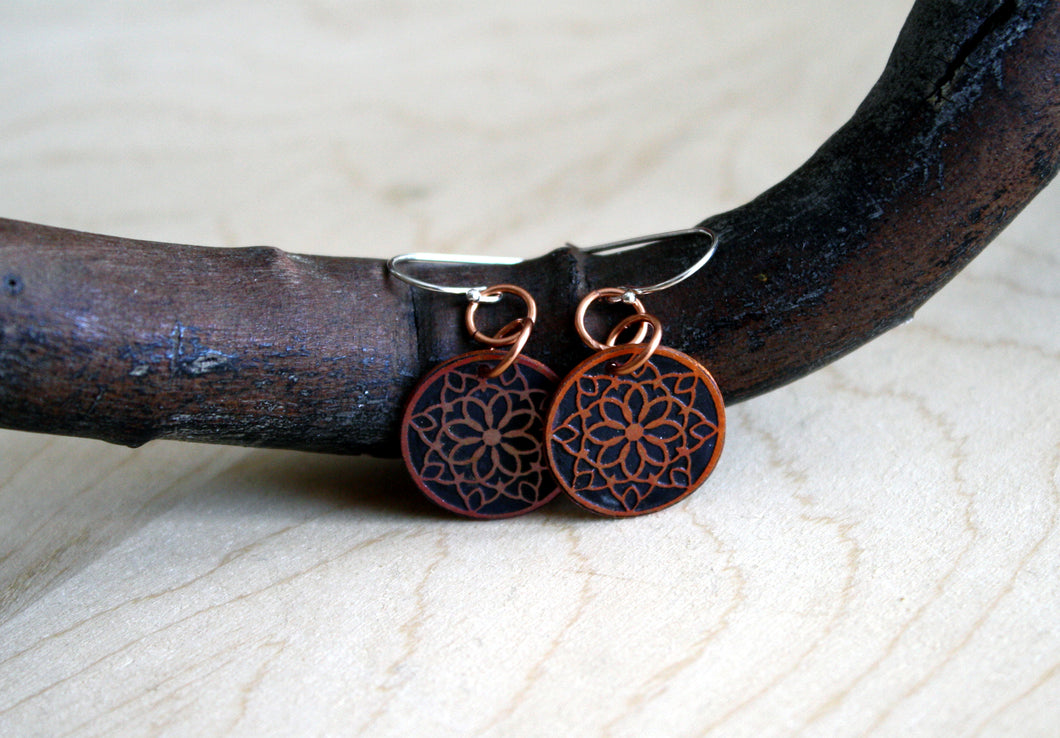 Snowflake Copper Mandala Earrings