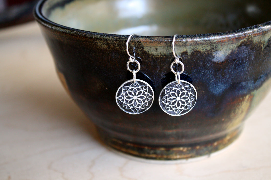 Sterling Silver Snowflake Mandala Earrings