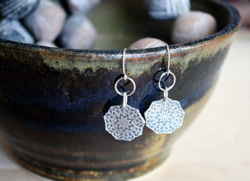 Geometric Sterling Silver Mandala Earrings