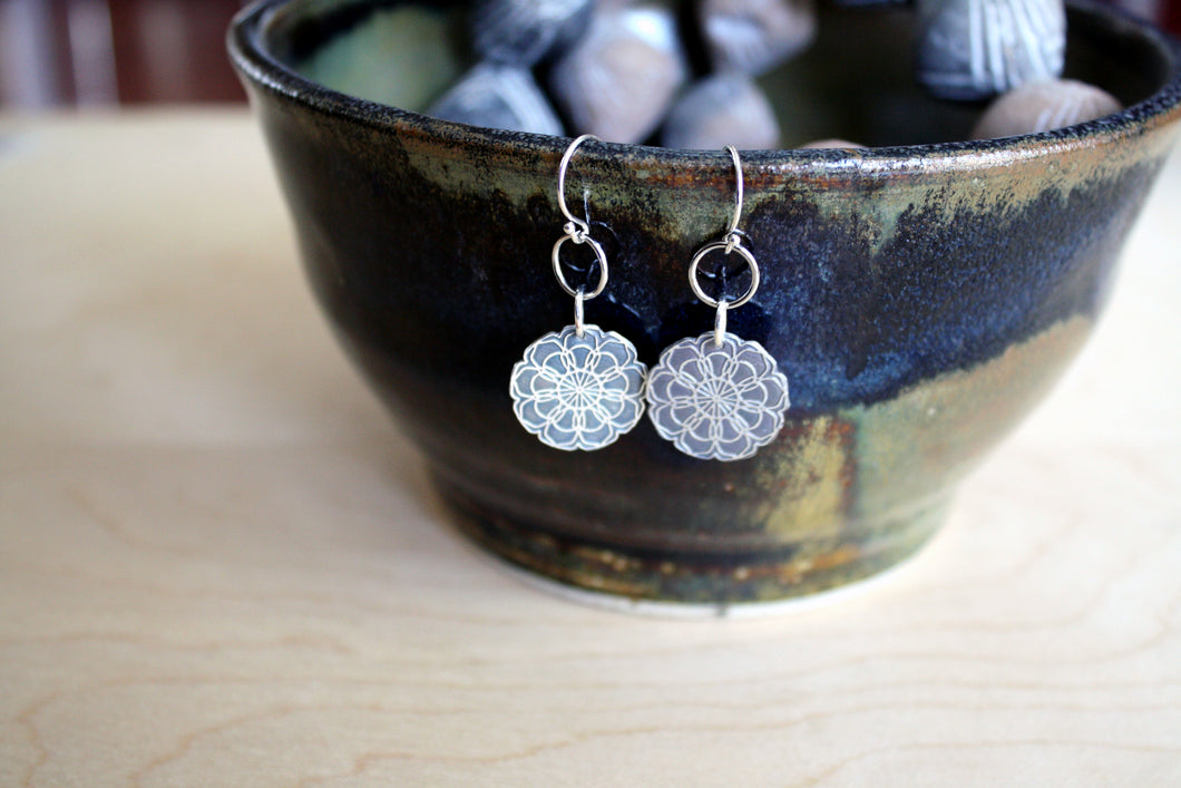 Floral Sterling Silver Mandala Earrings