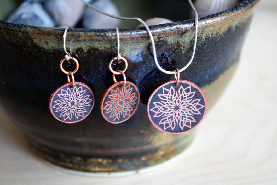 Edgy Copper Mandala Pendant and Earring Set