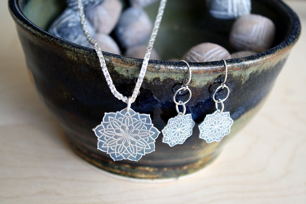 Sterling Silver Mandala Pendant and Earring Set